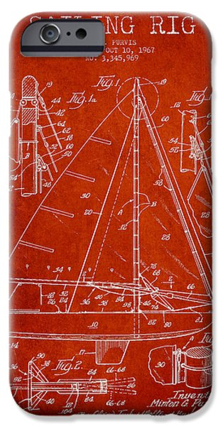 Sailboats iPhone Cases - Sailing Rig Patent Drawing From 1967 iPhone Case by Aged Pixel