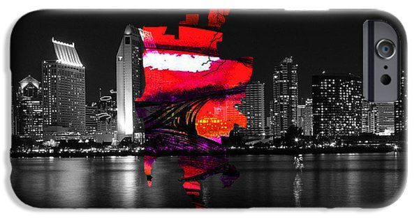 California iPhone Cases - San Diego California Map and Skyline iPhone Case by Marvin Blaine