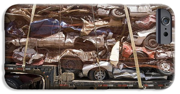 Automotive iPhone Cases - Scrap Cars In Transit For Recycling iPhone Case by David Parker
