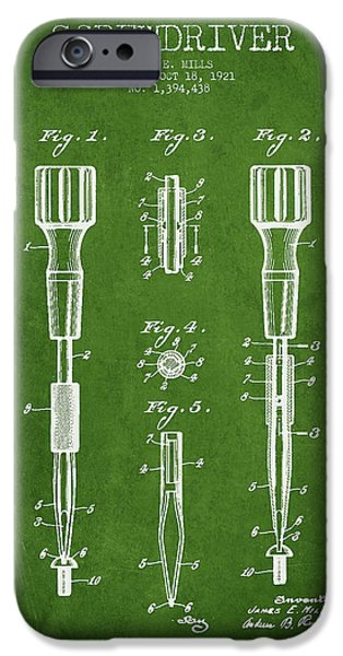 Technical iPhone Cases - Screwdriver Patent Drawing From 1921 iPhone Case by Aged Pixel