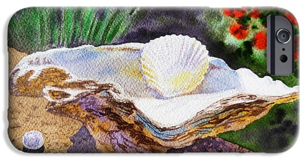 Morning Light Paintings iPhone Cases - Sea Shell and Pearls Morning Light iPhone Case by Irina Sztukowski