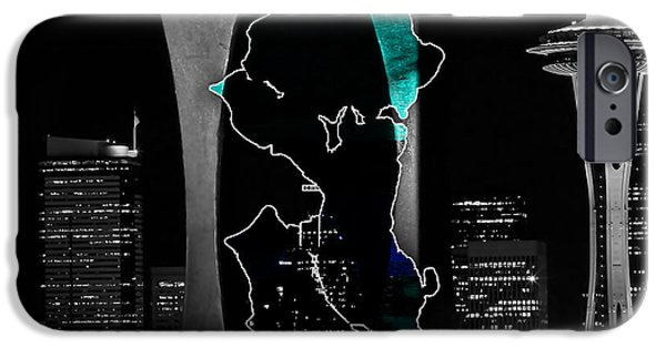 Colorful iPhone Cases - Seattle Map and Skyline Watercolor iPhone Case by Marvin Blaine