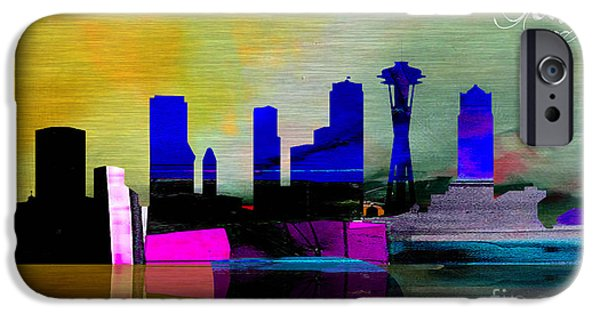 Cities iPhone Cases - Seattle Skyline Watercolor iPhone Case by Marvin Blaine