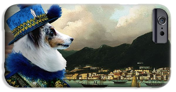 Sheltie iPhone Cases - Shetland Sheepdog Art Canvas Print iPhone Case by Sandra Sij