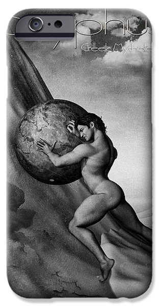 Gray Hair Digital Art iPhone Cases - Sisyphus iPhone Case by Joaquin Abella