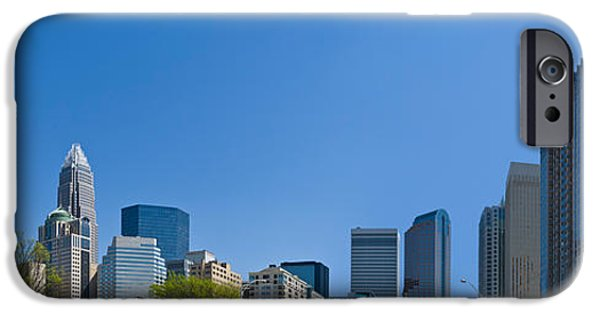 Charlotte iPhone Cases - Skyscrapers In A City, Charlotte iPhone Case by Panoramic Images