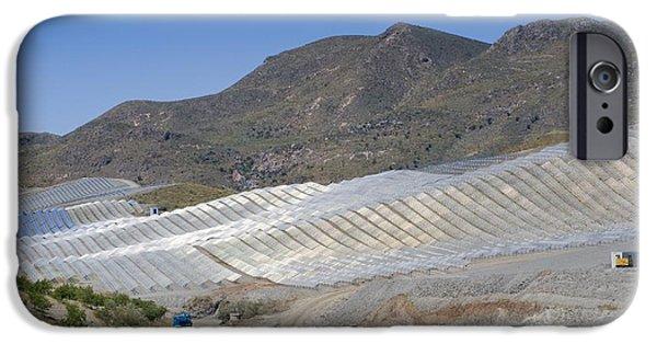 Electrical Equipment iPhone Cases - Solar Power Plant, Cala San Pedro, Spain iPhone Case by Chris Knapton