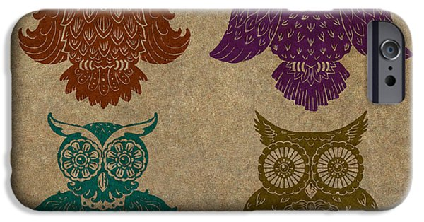 Lino Cut iPhone Cases - 4 Sophisticated Owls Colored iPhone Case by Kyle Wood