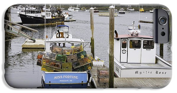 Maine Seascapes iPhone Cases - South Bristol and Fishing Boats on the Coast of Maine iPhone Case by Keith Webber Jr