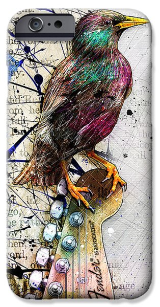 Fender Strat iPhone Cases - Starling On A Strat iPhone Case by Gary Bodnar