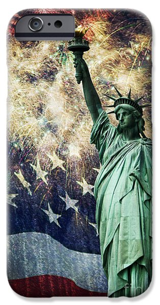 President iPhone Cases - Statue of Liberty and Fireworks iPhone Case by Michael Shake