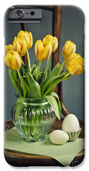 Shiny iPhone Cases - Still Life with Yellow Tulips iPhone Case by Nailia Schwarz