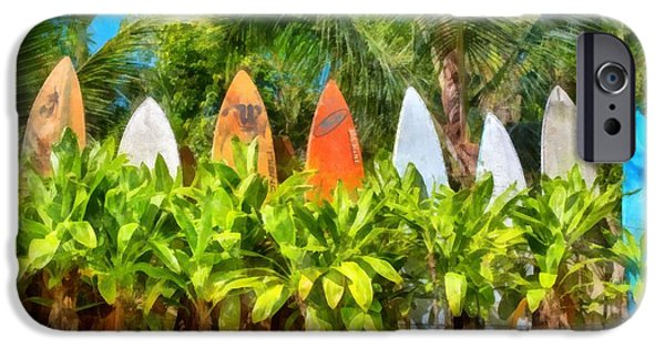 Hand-watercolored iPhone Cases - Surf Board Fence Maui Hawaii iPhone Case by Edward Fielding