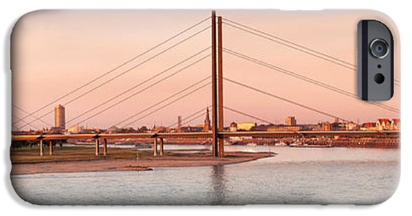 Connection iPhone Cases - Suspension Bridge Across A River iPhone Case by Panoramic Images