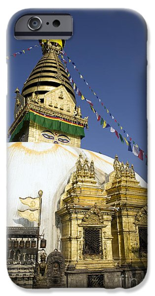Tibetan Buddhism iPhone Cases - Swayambhunath iPhone Case by Kevin Miller