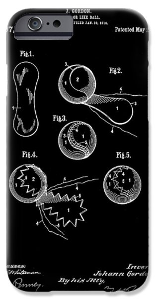 Federer iPhone Cases - Tennis Ball Patent 1914 - Black iPhone Case by Stephen Younts