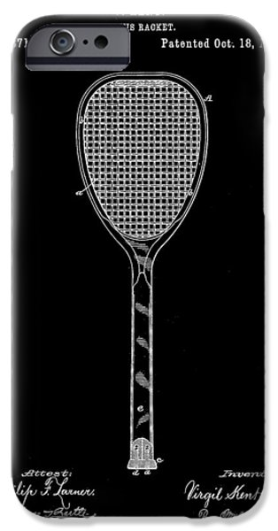 Federer iPhone Cases - Tennis Racket Patent 1887 - Black iPhone Case by Stephen Younts