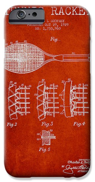 Tennis iPhone Cases - Tennnis Racket Patent Drawing from 1929 iPhone Case by Aged Pixel