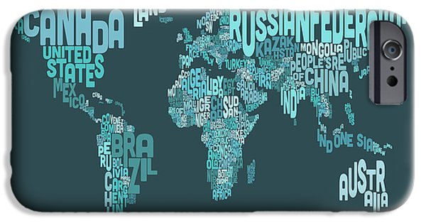 Word Map iPhone Cases - Text Map of the World Map iPhone Case by Michael Tompsett