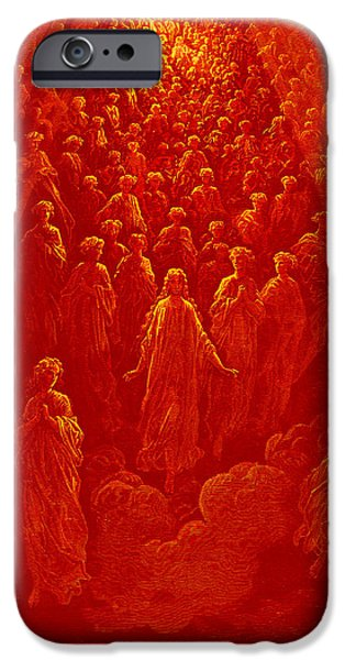 Planet Paintings iPhone Cases - The Angels in the Planet Mercury iPhone Case by Gustave Dore