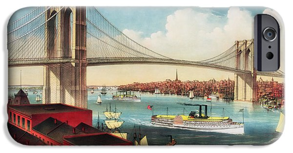 Suspension Drawings iPhone Cases - The Brooklyn Bridge iPhone Case by Mountain Dreams