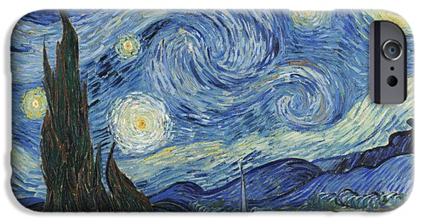 Moonlit iPhone Cases - The Starry Night iPhone Case by Vincent Van Gogh