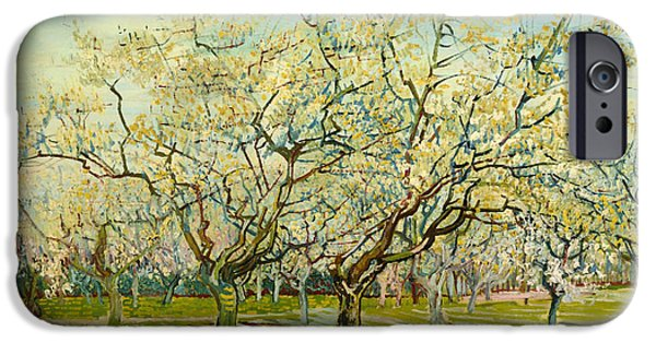 Fruit Tree Paintings iPhone Cases - The White Orchard iPhone Case by Vincent van Gogh