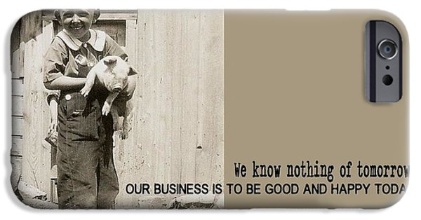 Business Photographs iPhone Cases - THIS LITTLE PIGGY quote iPhone Case by JAMART Photography