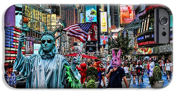 Interior Scene iPhone Cases - Times Square on a Tuesday iPhone Case by Lee Dos Santos