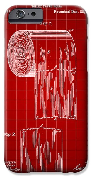 Ply iPhone Cases - Toilet Paper Roll Patent 1891 - Red iPhone Case by Stephen Younts