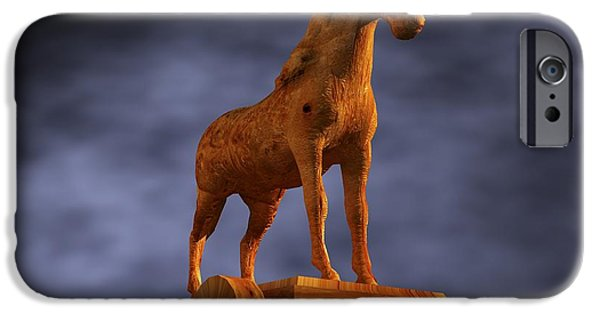 Horse iPhone Cases - Trojan Horse Computer Artwork iPhone Case by Christian Darkin