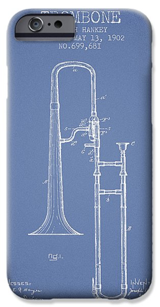 Slide iPhone Cases - Trombone Patent from 1902 - Light Blue iPhone Case by Aged Pixel