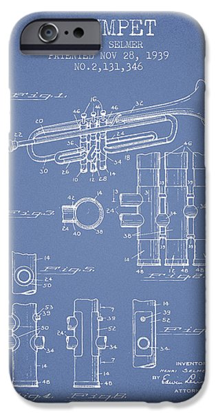 Trumpet iPhone Cases - Trumpet Patent from 1939 - Light Blue iPhone Case by Aged Pixel