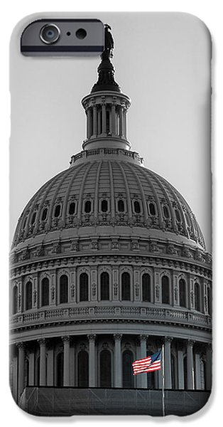 Flag iPhone Cases - United States Capitol USA iPhone Case by Celso Diniz