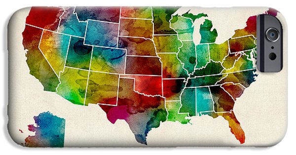 Geography iPhone Cases - United States Watercolor Map iPhone Case by Michael Tompsett