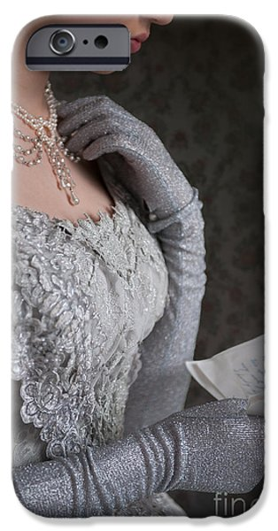 Glitter Glove iPhone Cases - Victorian Woman Reading A Letter iPhone Case by Lee Avison
