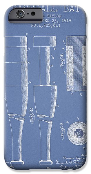 Baseball Glove iPhone Cases - Vintage Baseball Bat Patent from 1919 iPhone Case by Aged Pixel