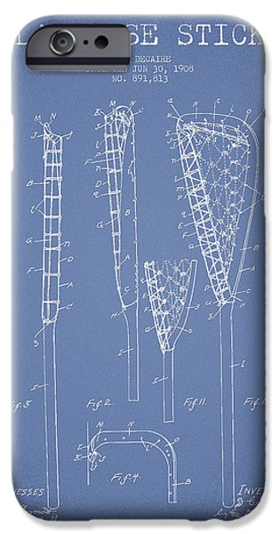 Vintage Lacrosse Stick Patent from 1908 iPhone Case by Aged Pixel
