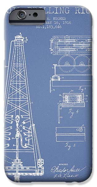 Industry iPhone Cases - Vintage Oil drilling rig Patent from 1916 iPhone Case by Aged Pixel