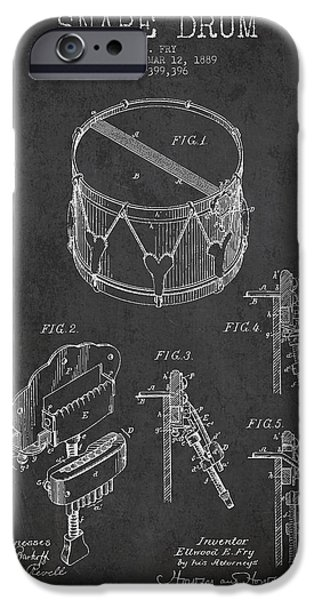 Drummer iPhone Cases - Vintage Snare Drum Patent Drawing from 1889 - Dark iPhone Case by Aged Pixel
