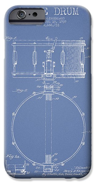 Snare Drum Patent Drawing from 1939 - Light Blue iPhone Case by Aged Pixel