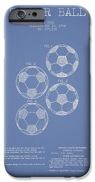 Soccer iPhone Cases - Vintage Soccer Ball Patent Drawing from 1964 iPhone Case by Aged Pixel