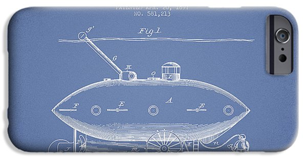 Technical iPhone Cases - Vintage Submarine Vessel patent from 1897 iPhone Case by Aged Pixel