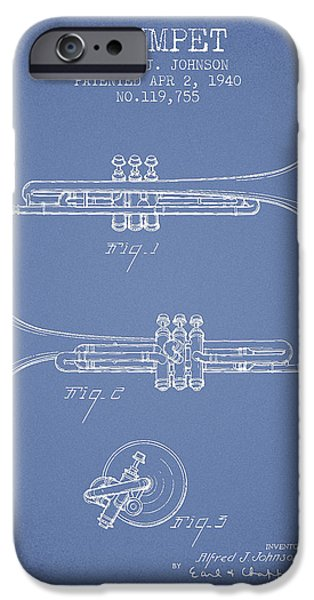 Trumpet iPhone Cases - Vintage Trumpet Patent from 1940 - Light Blue iPhone Case by Aged Pixel