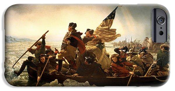 American Revolution iPhone Cases - Washington Crossing the Delaware iPhone Case by Emanuel Leutze