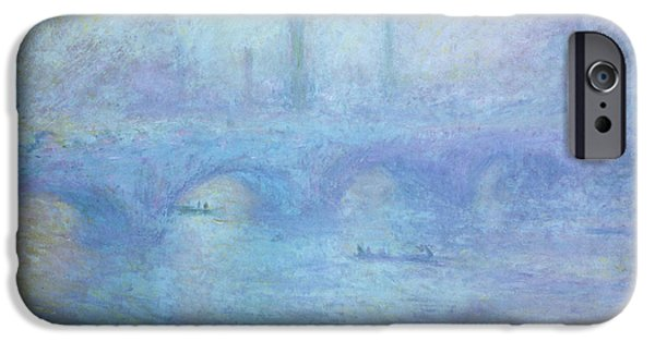 Foggy iPhone Cases - Waterloo Bridge iPhone Case by Claude Monet