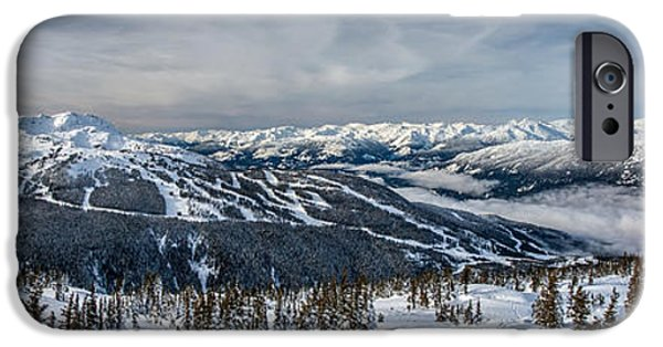 Winter Trees Photographs iPhone Cases - Whistler mountain peak view from Blackcomb iPhone Case by Pierre Leclerc Photography