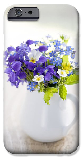 Pansy iPhone Cases - Wildflower bouquet iPhone Case by Elena Elisseeva