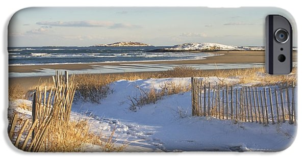 Down East iPhone Cases - Winter at Popham Beach State Park Maine iPhone Case by Keith Webber Jr