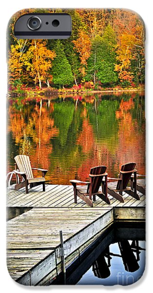 Getaway iPhone Cases - Wooden dock on autumn lake iPhone Case by Elena Elisseeva